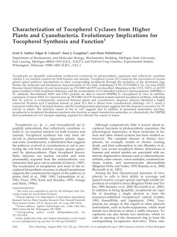 Characterization of Tocopherol Cyclases from ... - Plant Physiology