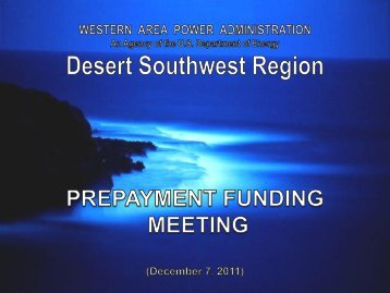 prepayment funding process - Western Area Power Administration