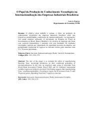 O Papel da Produção de Conhecimento Tecnológico na ...