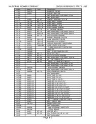 NATIONAL MOWER COMPANY CROSS REFERENCE PARTS LIST ...