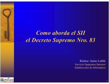 Como aborda el SII el Decreto Supremo Nro. 83 - Criptored