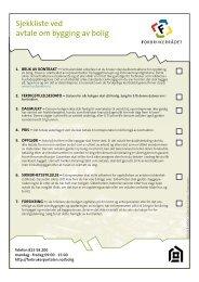 Sjekkliste ved avtale om bygging av bolig