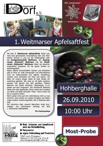 1.Weitmarser Apfelsaftfest Hohberghalle 10:00 Uhr 26.09.2010