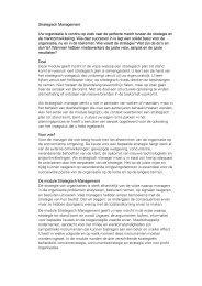 Strategisch Management Uw organisatie is continu op zoek naar de ...