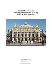 Paris Opera Restaurant Press Release - L'Opera Restaurant