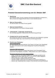 Protokoll der letzten GV - SMC Biel-Seeland