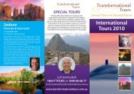 International Tours 2010 Call Jeremy Ball - Transformational Tours