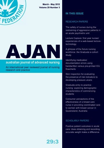 IN THIS ISSUE - Australian Journal of Advanced Nursing