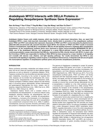 MYC2 Interacts with DELLA Proteins in Regulating ... - The Plant Cell