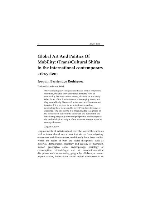 Global Art And Politics Of Mobility: (Trans)Cultural Shifts in the ...
