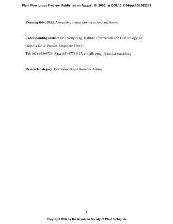 1 Running title: DELLA-regulated transcriptomes ... - Plant Physiology