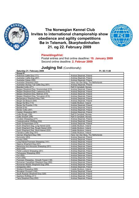 The Norwegian Kennel Club Invites to international - Dogs World ...