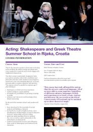 Acting: Shakespeare and Greek Theatre Summer School in Rijeka ...