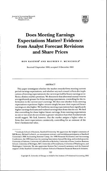 Does Meeting Earnings Expectations Matter? Evidence from Analyst ...