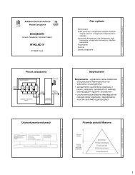 Zarządzanie WYKŁAD IV - Wydział Zarządzania