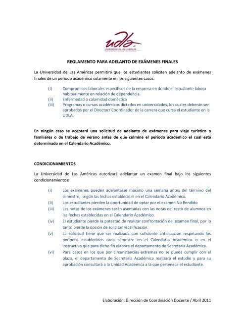 Calendario Academico Udla 2019.Reglamento Para Adelanto De Examenes Finales Udla
