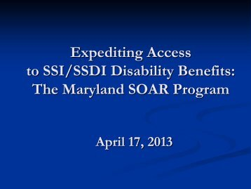 Expediting Access to SSI/SSDI Disability Benefits - National Alliance ...