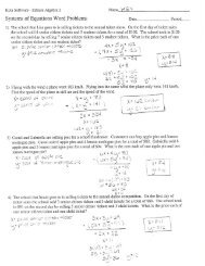 Systems of Equations Word Problems KEY