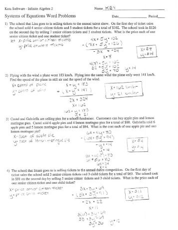 Systems of equations word problems kentoncountyspringboardmath systems of equations word problems key ibookread PDF
