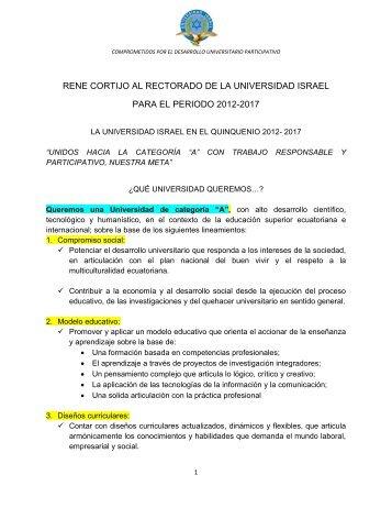 Propuesta Candidato a Rector René Cortijo - Universidad Israel