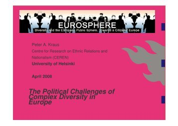 The Political Challenges of Complex Diversity in Europe