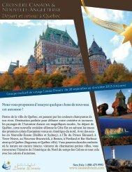 Départ et retour à Québec Départ et retour à Québec