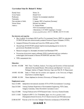 Curriculum Vitae Dr. Roland E. Weber - Law Offices of Raphael ...