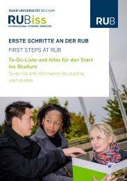 Erste Schritte an der RUB - International - Ruhr-Universität Bochum