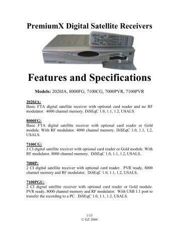 PremiumX Digital Satellite Receivers Features ... - satellite systems