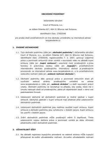 OBCHODNÍ PODMÍNKY - Court of Moravia