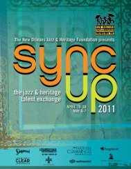 View the 2011 Sync Up Program Book - New Orleans Jazz ...