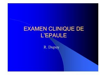 EXAMEN CLINIQUE DE EXAMEN CLINIQUE DE L'EPAULE