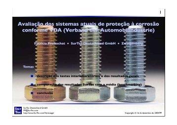 Avaliação dos sistemas atuais de proteção à corrosão conforme VDA