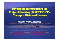 Developing Infrastructure via Project Financing (BOT/PFI/PPP ...