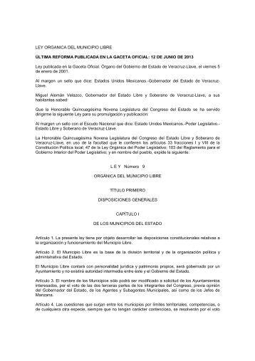 LEY ORGANICA DEL MUNICIPIO LIBRE 12-06-13 - H. Congreso ...