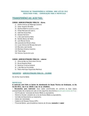 TRANSFERÊNCIAS ACEITAS: