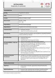 Job Description Hospitality Co-ordinator