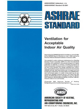 Ventilation for Acceptable Indoor Air Quality