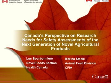 Canada's Perspective on Research Needs for Safety Assessments ...