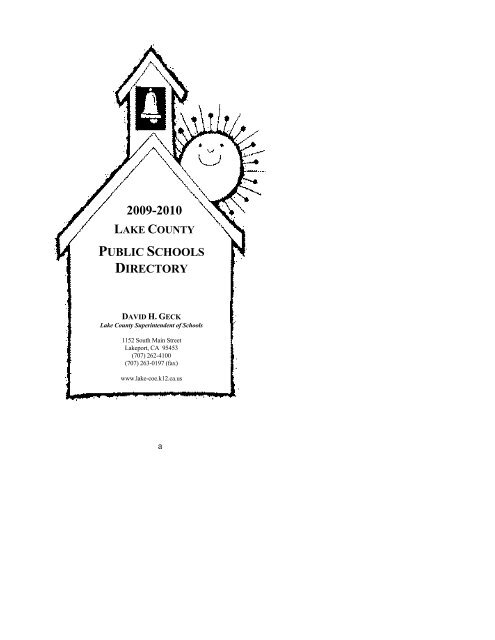 PUBLIC SCHOOLS DIRECTORY - Lake County Office of Education