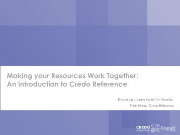 An Introduction to Credo Reference - Systems Link International