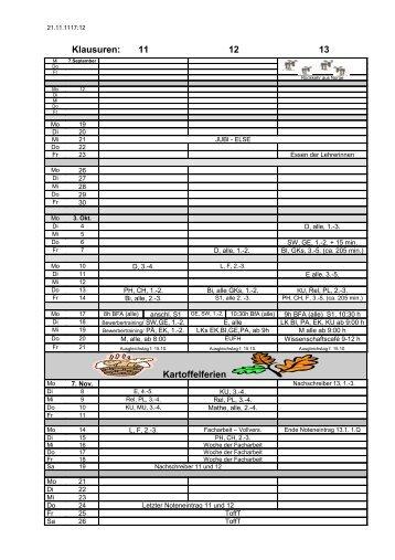 Klausuren: 11 12 13 Kartoffelferien