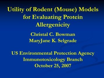 Utility of Rodent (Mouse) Models for Evaluating Protein Allergenicity