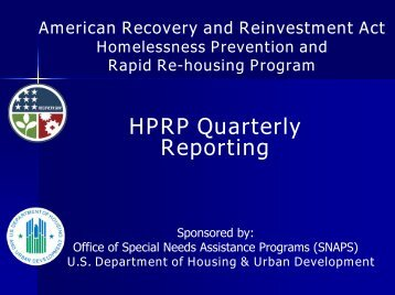 HPRP Quarterly Reporting - OneCPD