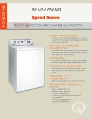 TOP LOAD WASHERS - Speed Queen
