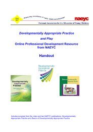 Handout on Developmentally Appropriate Practice and Play