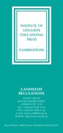 CANDIDATE REGULATIONS INSTITUTE OF LINGUISTS ...