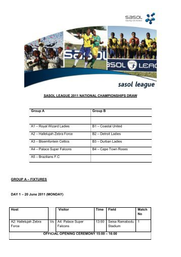 Sasol League 2011 National Championship Draw and Fixtures