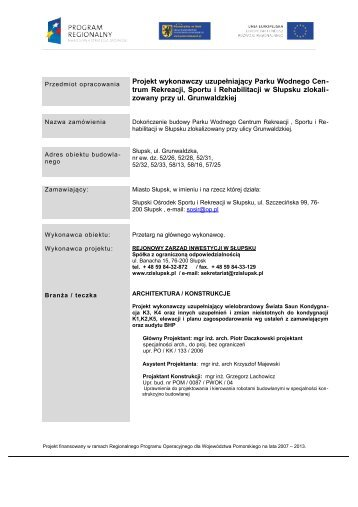 projekt Wykonawczy uzupełniający 2013 - architektura ... - rzislupsk.pl