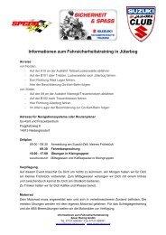 Informationen zum Fahrsicherheitstraining in Jüterbog - Suzuki Club